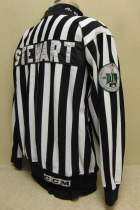 This jersey was worn for one season by Sioux City referee Chad Stewart. Has IHSHL 25 year and Dustin White Memorial patchs. NOB and made by CCM.