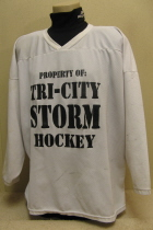 Tri-City Storm Practice Jersey #24 2000 This practice jersey was worn by Sioux City native Kyle Worner during the inaugural 2000 season. He was the Storm's very first draft pick. Kyle played High School Hockey in Sioux City before a season in the NAHL, then on the Storm where he played two more seasons and became a fan favorite!!!